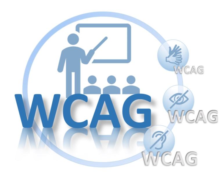 Piktogram. WCAG. W tle trener dostępności i uczestnicy szkolenia.